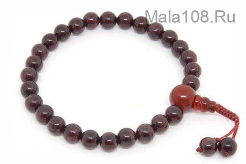 Изящные буддийские четки-браслет из красного граната 27 бусин