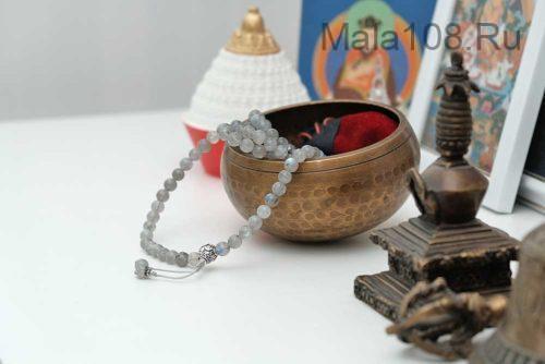 Буддийские четки из лабрадора с серебряной гуру 108 бусин