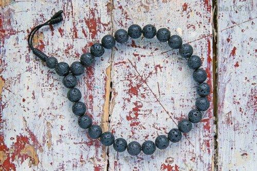 Крупноразмерные буддийские четки-браслет из базальта (лавы)