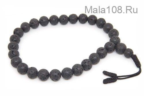 Крупные буддийские четки-браслет из базальта (лавы) 27 бусин