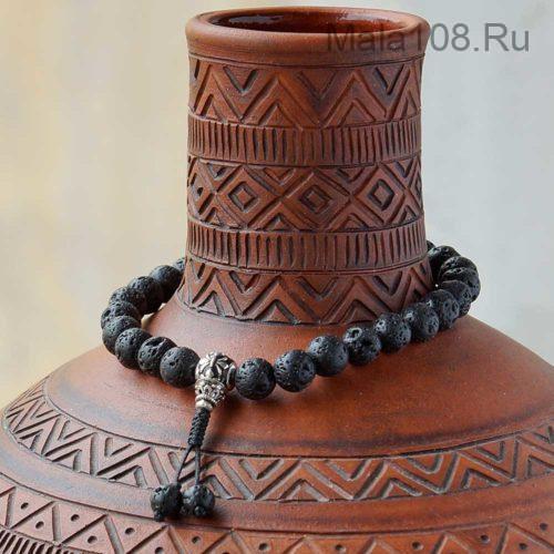 Буддийские четки-браслет из базальта 27 бусин с серебряной гуру