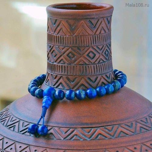 Буддийские четки-браслет из полированного лазурита, они же — четки на руку