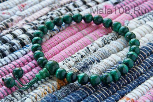 Буддийские четки-браслет из конголезского малахита 27 бусин