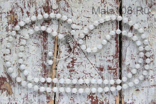 Буддийские четки из лунного камня с серебряной гуру 108 бусин