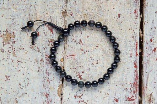 Буддийские четки-браслет из обсидиана 27 бусин, они же — четки на руку