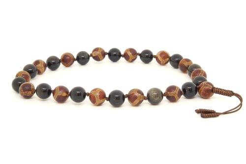 Очень крупные буддийские четки-браслет из обсидиана 27 бусин