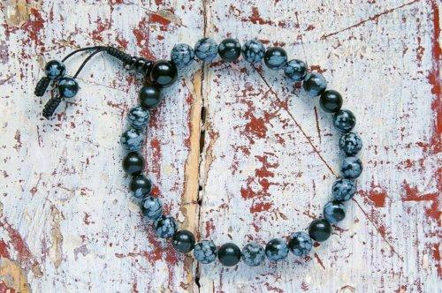 Буддийские четки-браслет из обсидиана снежного 27 бусин, они же — четки на руку