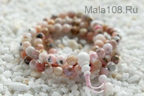 Изящные буддийские четки из розового граненого опала 108 бусин