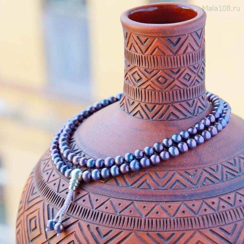 Изящные буддийские четки из черного жемчуга с серебряной гуру