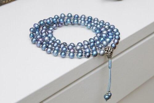 Изящные буддийские четки из голубого жемчуга с серебряной гуру 108 бусин
