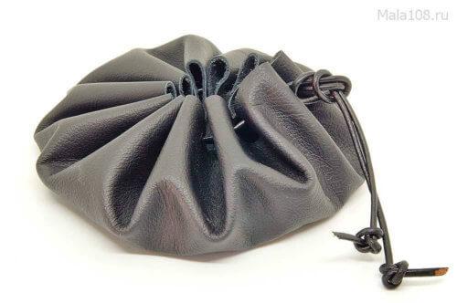 Мешочек-кисет для хранения четок из мягкой черной кожи без подклада