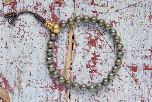 Буддийские четки-браслет из пирита 27 бусин, они же — четки на руку