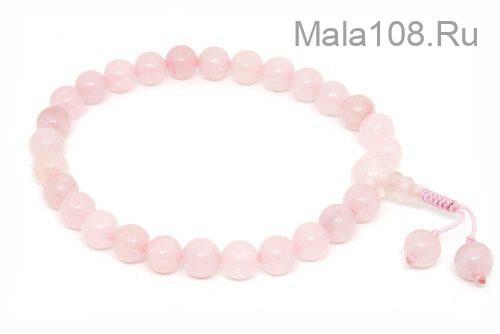 Буддийские четки-браслет из розового кварца 27 бусин