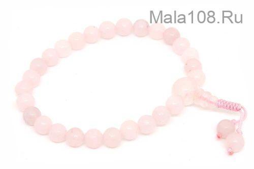 Изящные буддийские четки-браслет из розового кварца 27 бусин
