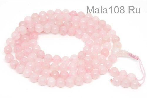 Буддийские четки из розового кварца 108 бусин