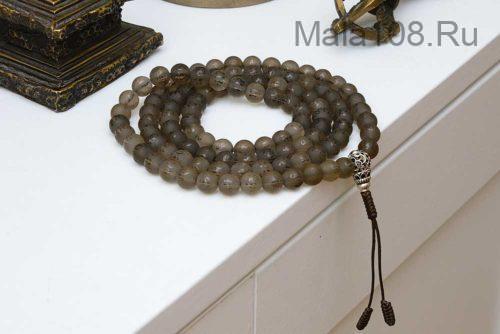 Буддийские четки из матового раухтопаза с мантрой 108 бусин