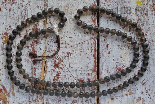Буддийские четки из матового раухтопаза 108 бусин с серебряной гуру