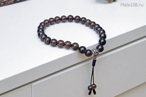 Буддийские четки-браслет из раухтопаза с серебряной гуру, они же — четки на руку