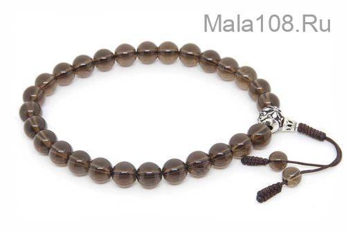 Буддийские четки-браслет из раухтопаза 27 бусин с серебряной гуру