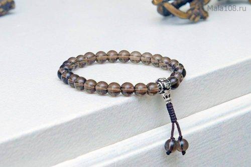 Изящные буддийские четки-браслет из полированного раухтопаза, они же — четки на руку