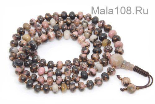 Изящные буддийские четки из родонита рондель 108 бусин