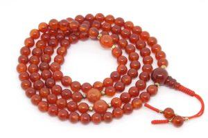Изящные буддийские четки из сердолика 108 бусин