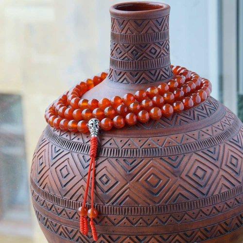 Крупные буддийские четки из сердолика 108 бусин с серебряной гуру