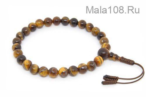 Буддийские четки-браслет из тигрового глаза 27 бусин
