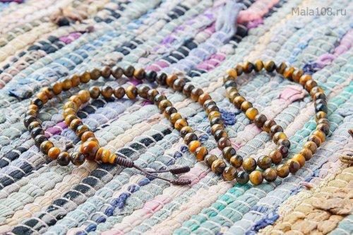 Изящные буддийские четки из полированного камня тигровый глаз