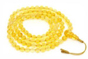 Изящные буддийские четки из лимонного янтаря 108 бусин