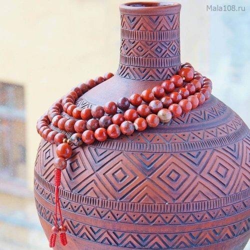 Крупноразмерные буддийские четки из красной яшмы