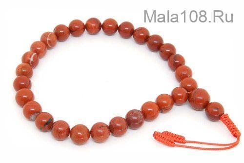Крупные буддийские четки-браслет из красной яшмы 27 бусин