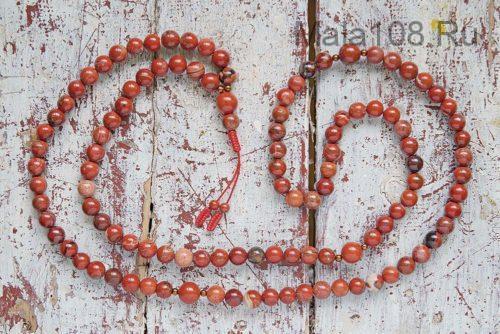 Крупные буддийские четки из красной яшмы 108 бусин