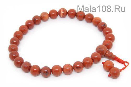 Буддийские четки-браслет из красной яшмы 27 бусин