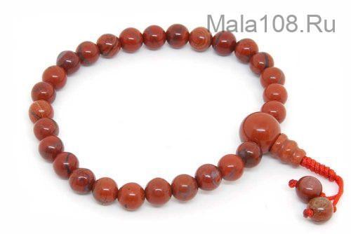 Изящные буддийские четки-браслет из красной яшмы 27 бусин