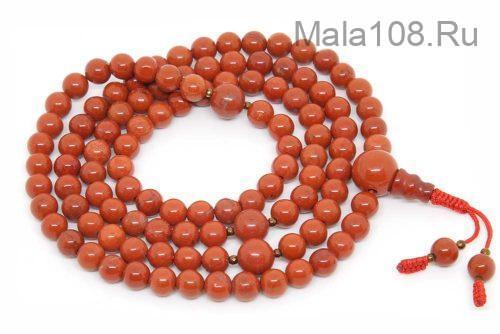 Изящные буддийские четки из красной яшмы 108 бусин