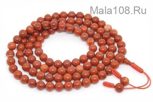 Буддийские четки из красной яшмы 108 бусин