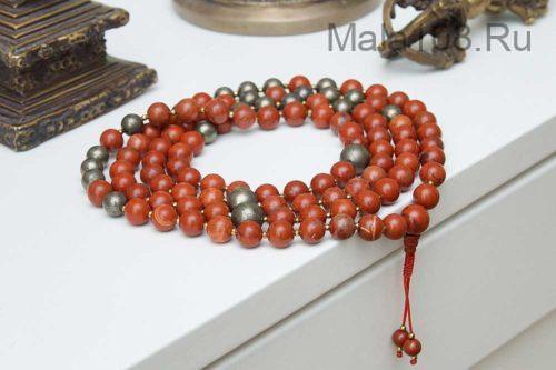 Классические буддийские четки из красной яшмы и пирита 108 бусин