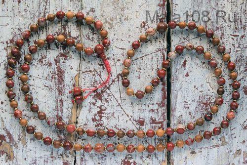 Буддийские четки из красной яшмы и розового дерева 108 бусин