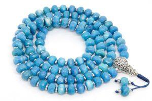 Буддийские четки из голубого граненого агата рондель 108 бусин