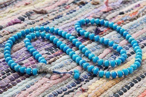 Буддийские четки из голубого граненого агата-ронделя 108 бусин