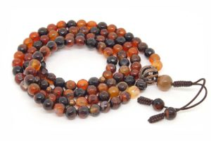 Изящные буддийские четки из коричневого граненого агата 108 бусин