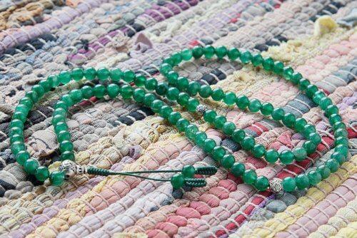 Классические буддийские четки из зеленого авантюрина 108 бусин