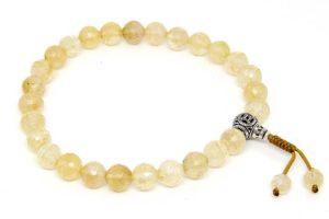 Буддийские четки-браслет из цитрина 27 бусин с серебряной гуру