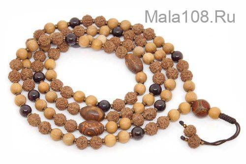 Буддийские четки из рудракши, граната и древесины ясеня 108 бусин