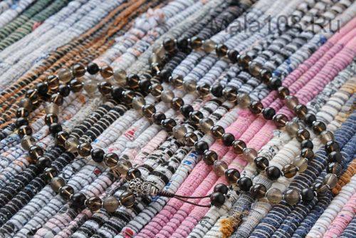 Буддийские четки из раухтопаза и эбена 108 бусин