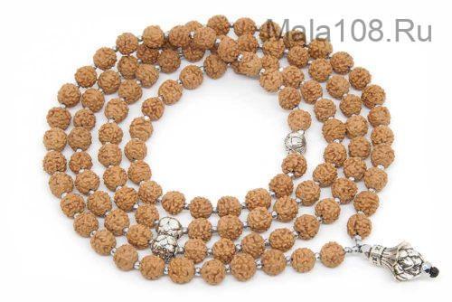 Буддийские четки из рудракши с лотосами 108 бусин