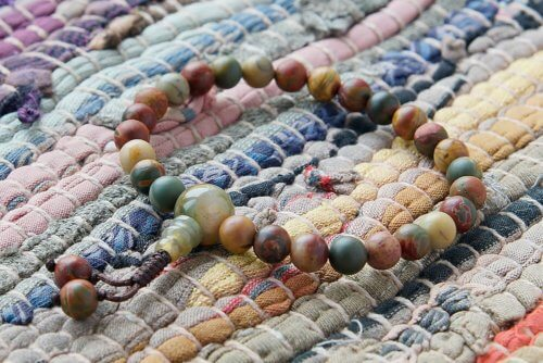 Изящные буддийские четки-браслет из яшмы пикассо 27 бусин
