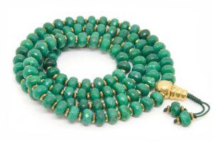 Буддийские четки из зеленого граненого агата рондель 108 бусин