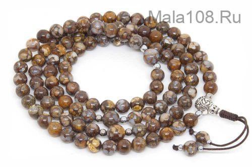 Изящные буддийские четки из лланита (камень Que-Sera) 108 бусин